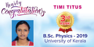 Timi Titus – Kerala University BSc Physics 3rd Rank